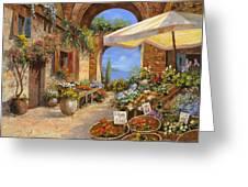 Il Mercato Del Lago Greeting Card by Guido Borelli