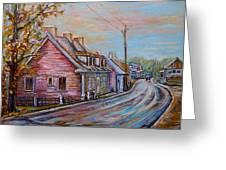 Iles D'orleans Quebec Village Scene Greeting Card by Carole Spandau