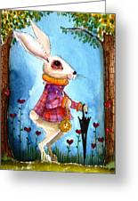I'm Late Greeting Card by Lucia Stewart