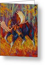 Imminent Charge - Bull Moose Greeting Card by Marion Rose