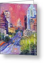 Impressionistic Downtown Austin City Painting Greeting Card by Svetlana Novikova