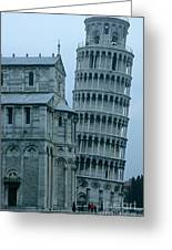 Impressive View Of The Cathedral Standing Alongside The Leaning Tower Of Pisa Greeting Card by Sami Sarkis