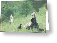 In A Park Greeting Card by Berthe Morisot
