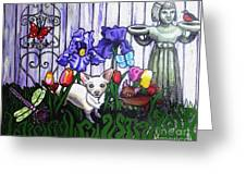 In The Chihuahua Garden Of Good And Evil Greeting Card by Genevieve Esson
