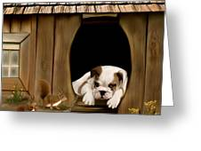In The Dog House Greeting Card by Thanh Thuy Nguyen