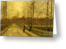 In the Golden Gloaming Greeting Card by John Atkinson Grimshaw