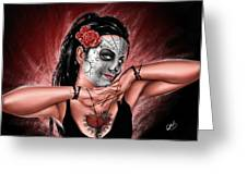 In The Hands Of Death Greeting Card by Pete Tapang