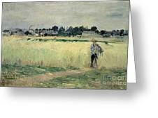 In the Wheatfield at Gennevilliers Greeting Card by Berthe Morisot