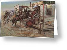 In Without Knocking Greeting Card by Charles M Russell