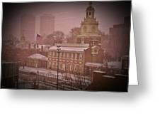 Independence Hall In The Snow Greeting Card by Bill Cannon