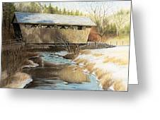 Indian Creek Covered Bridge Greeting Card by James Clewell