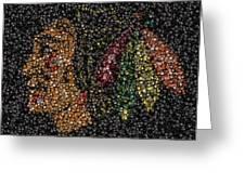 Indian Hockey Puck Mosaic Greeting Card by Paul Van Scott