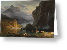Indians Spear Fishing Greeting Card by Albert Bierstadt