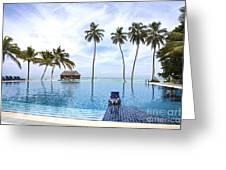 Infinity Pool Meeru Greeting Card by Jane Rix