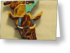 Intarsia Bull-rider Greeting Card by Russell Ellingsworth