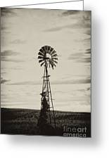 Iowa Windmill In A Corn Field Greeting Card by Wilma  Birdwell