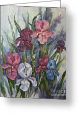 Iris Greeting Card by M J Weber