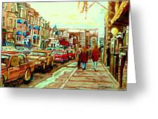 Irish Pubs And Bistros Downtown Montreal Greeting Card by Carole Spandau