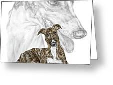 Irresistible - Greyhound Dog Print color tinted Greeting Card by Kelli Swan