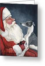 Italian Greyhound And Santa Greeting Card by Charlotte Yealey