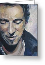 It's Boss Time II - Bruce Springsteen Portrait Greeting Card by Khairzul MG