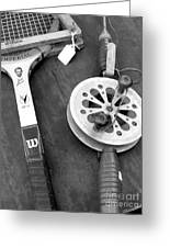 Jack Kramer Wood Racket And Ancient Rod And Reel Greeting Card by David Bearden