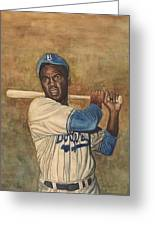 Jackie Robinson Greeting Card by Robert Casilla