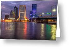 Jacksonville at Dusk Greeting Card by Debra and Dave Vanderlaan