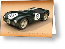 Jaguar Xk120-c Three-quarters Greeting Card by Pete Chadwell