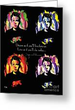 James Dean Greeting Card by Mo T