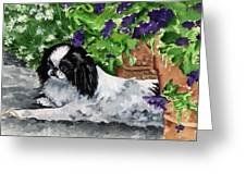 Japanese Chin Puppy And Petunias Greeting Card by Kathleen Sepulveda