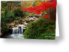 Japanese Garden Brook Greeting Card by Jon Holiday