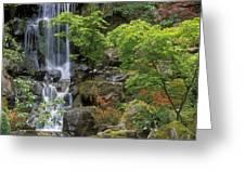 Japanese Garden Waterfall Greeting Card by Sandra Bronstein