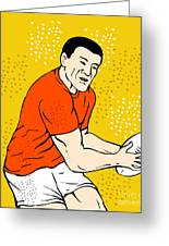 Japanese Rugby Player Passing Ball Greeting Card by Aloysius Patrimonio