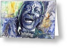 Jazz B B King 04 Blue Greeting Card by Yuriy  Shevchuk