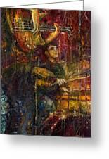 Jazz Bass Guitarist Greeting Card by Yuriy  Shevchuk