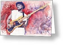 Jazz Guitarist Marcus Miller Red Greeting Card by Yuriy  Shevchuk