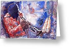 Jazz Miles Davis 15 Greeting Card by Yuriy  Shevchuk