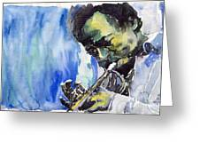 Jazz Miles Davis 5 Greeting Card by Yuriy  Shevchuk