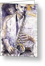 Jazz Muza Saxophon Greeting Card by Yuriy  Shevchuk