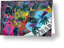 Jazz On Ogontz Ave. Greeting Card by Larry Poncho Brown