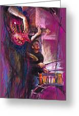 Jazz Purple Duet Greeting Card by Yuriy  Shevchuk
