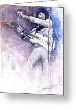 Jazz Rock Jimi Hendrix 07 Greeting Card by Yuriy  Shevchuk