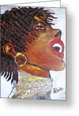 Jazz Singer Jade Greeting Card by Samuel Banks