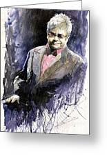 Jazz Sir Elton John Greeting Card by Yuriy  Shevchuk