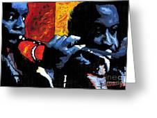 Jazz Trumpeters Greeting Card by Yuriy  Shevchuk