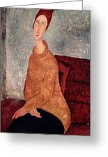 Jeanne Hebuterne In A Yellow Jumper Greeting Card by Amedeo Modigliani