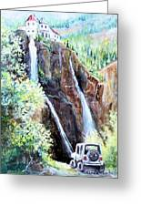 Jeeping At Bridal Falls  Greeting Card by Linda Shackelford
