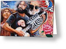 Jerry Garcia And The Grateful Dead Greeting Card by Darwin Leon