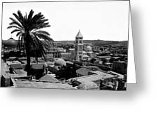 Jerusalem View From The Southwest Greeting Card by Munir Alawi